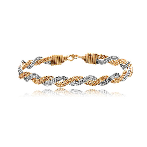 Pure Love Bracelet - 14K Gold Artist Wire and Mirrored Sterling Silver