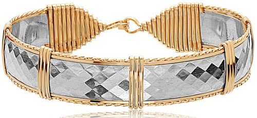 Ronaldo Bar Bracelet - Sterling Silver Bar with 14K Gold Artist Wire Wraps
