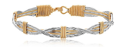 Sands of Time Bracelet - 14K Gold Artist Wire & Silver with Silver X