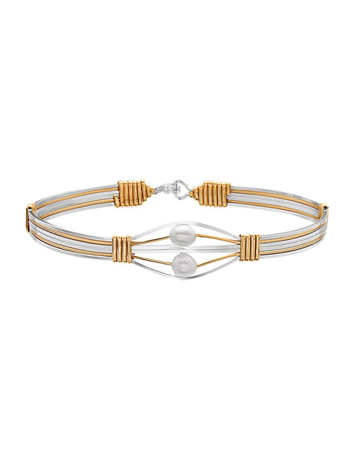 Souls Forever Bracelet - Silver with 14K Gold Artist Wire Accents with 14K Gold Artist Wire Wraps
