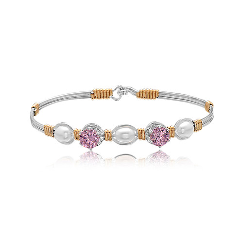 Special Treasures Bracelet - Sterling Silver with 14K Gold Artist Wire Wraps (October Stone)