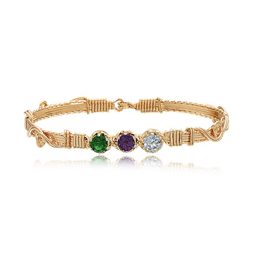 Spring Time Bracelet - 14K Gold Artist Wire (May, February April Stones)