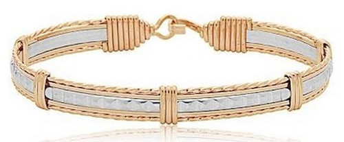 Time Bracelet - Sterling Silver Bar with 14K Gold Artist Wire