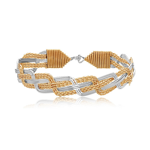 Turks Head Bracelet (12 Strand) - 14K Gold Artist Wire and Sterling Silver