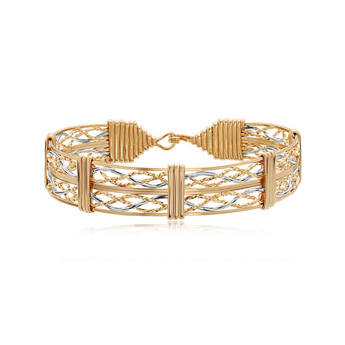 Tribute Bracelet (Wide) - Outer 14K Gold Artist Wire with 14K Gold Artist Wire & Silver Center