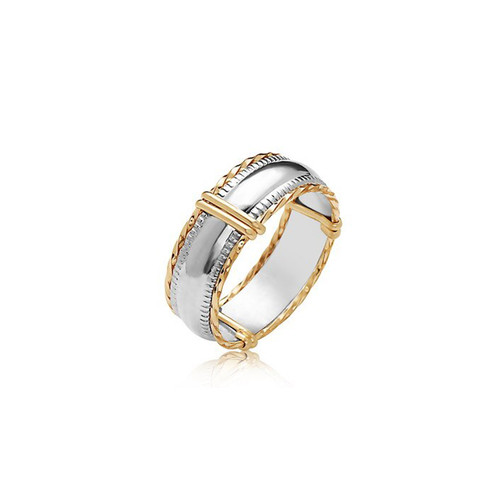 Dome Bar Ring - Sterling Silver Bar with 14K Gold Artist Wire
