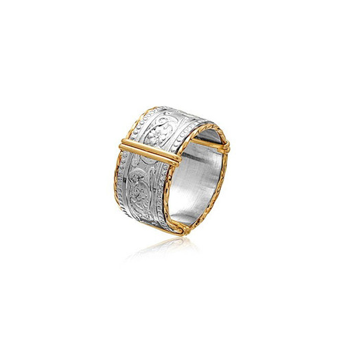 Elizabeth Ring - Sterling Silver Bar with 14K Gold Artist Wire Wraps