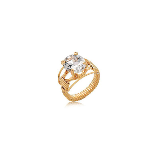 5 ct Gemstone Ring - 14K Gold Artist Wire - White Topaz