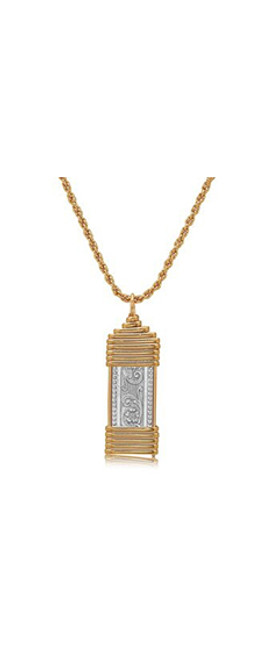 Elizabeth Pendant - Sterling Silver Bar with 14K Gold Artist Wire Wraps