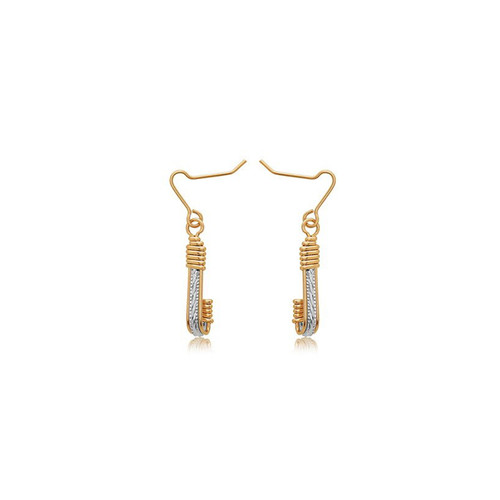 Clara Earrings - Sterling Silver Bar with 14K Gold Artist Wire Wraps