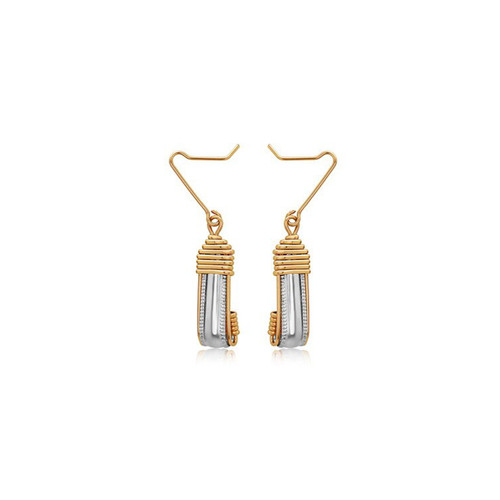 Dome Earrings  - Sterling Silver Bar with 14K Gold Artist Wire