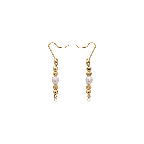 E9 Earrings - 14K Gold Artist Wire - Pearl