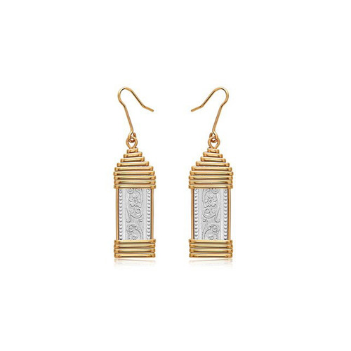 Elizabeth Earrings - Sterling Silver Bar with 14K Gold artist Wire Wraps