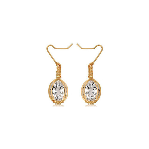 Gemstone Earrings - 14K Gold Artist Wire - White Topaz