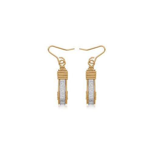 Greek Key Earrings - Sterling Silver Bar with 14K Gold Artist Wire Wraps