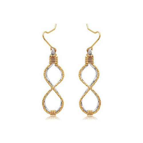 Infinity Earrings - 14K Gold Artist Wire and Sterling Silver