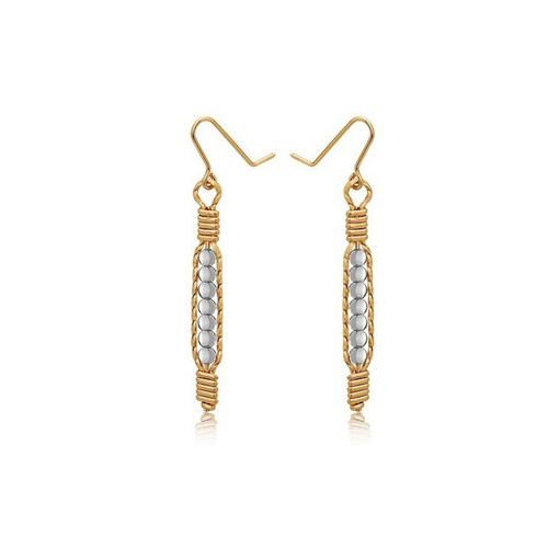 Power of Prayer Earrings - 14K Gold Artist Wire with Silver Beads