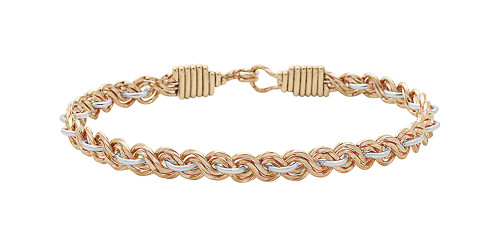 Because of You Bracelet - 14K Gold Artist Wire with Mirror Silver
