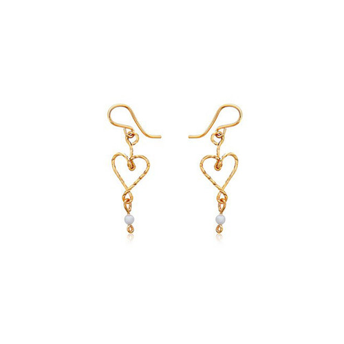 Hold My Heart Earrings - 14K Gold Artist Wire - Pearl