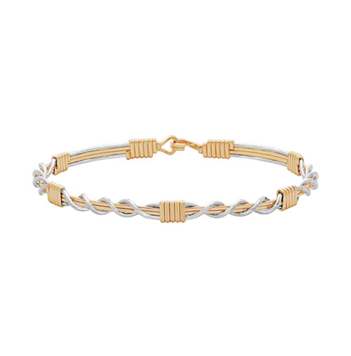 Thankful Bracelet - 14K Gold Artist Wire and Silver