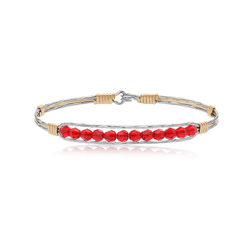 Courage Bracelet - Mirror Silver with 14K Gold Artist Wire Center and Wraps featuring Red Crystals