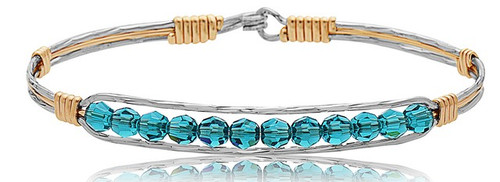 Inspire Bracelet - Mirror Silver with 14K Gold Artist Wire Center and Wraps featuring Teal Crystals