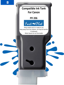 FastPlot Compatible Ink Cartridge Replacement for Canon 206 color Blue