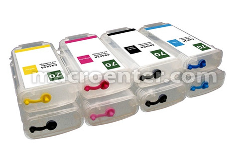 FastPlot Refillable Ink Cartridge Replacement for HP 70 Set of 8