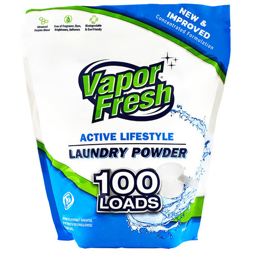 Vapor Fresh® Laundry Detergent Powder, Unscented, For Sports, Gym Clothes And Activewear, Free & Clear (100 Loads)