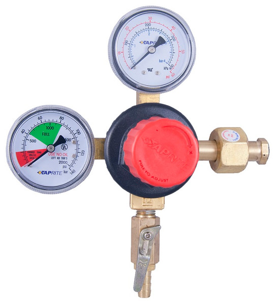 """Our high performance regulator for high volume and commercial dispense is designed to provide maximum flow for simultaneous dispensing through multiple taps while resisting freeze up. the polycarbonate bonnet is easy to adjust when changing kegs and co2 tanks. the polycarbonate bonnet and brass body are corrosion resistant make the regulator highly durable in a variety of environments. this 1 pressure 1 product regulator has a cga320 inlet, 5/16""""barb shutoff w/check, and 60lb and 2000lb gauges so you can see both your output pressure and how much co2 is left in your tank."""