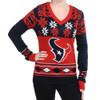 Houston Texans Big Logo (Women's V-Neck) NFL Ugly Sweater