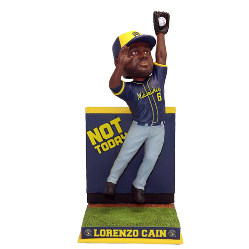 Lorenzo Cain (Milwaukee Brewers) Not Today Wall Catch Bobblehead Exclusive #/360