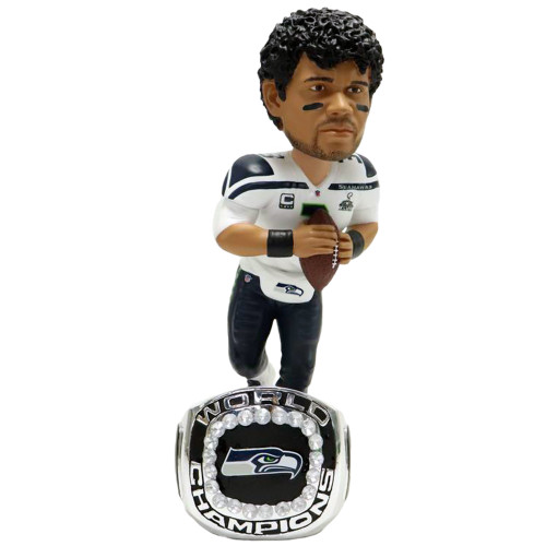 Russell Wilson (Seattle Seahawks) Super Bowl XLVIII Championship Ring Base Exclusive NFL Bobblehead #/360