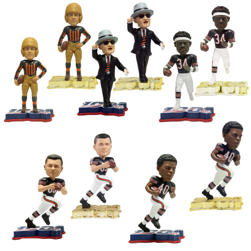 Chicago Bears NFL 100 Set (10) Reg. + GOLD Exclusive Bobbleheads #/100