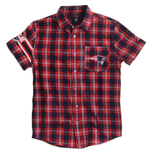 New England Patriots Wordmark Short Sleeve Flannel Shirt by Klew