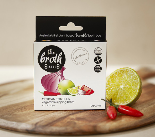 The Broth Sisters Mexican Tortilla Sipping Broth 2 Tea Bags 12g (Carton of 6)