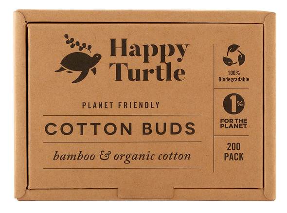 Happy Turtle Organic Cotton & Bamboo Cotton Buds 200-Pack (Flip Lid)  (Carton of 10)