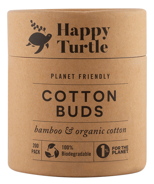 Happy Turtle Organic Cotton & Bamboo Cotton Buds 200-Pack (Tube)  (Carton of 6)