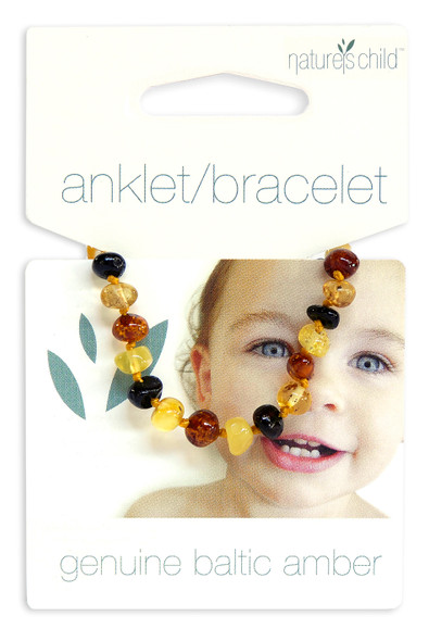 Nature's Child Amber Anklet - Mixed Colours