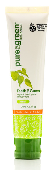 Pure & Green Teeth & Gums Toothpaste Mint 70g (Carton of 4)