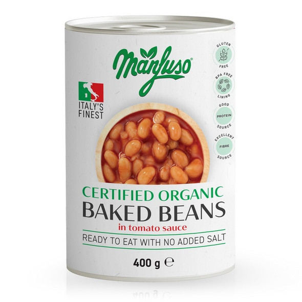 Manfuso Organic Baked Beans In Tomato Sauce 400g (Carton of 12)