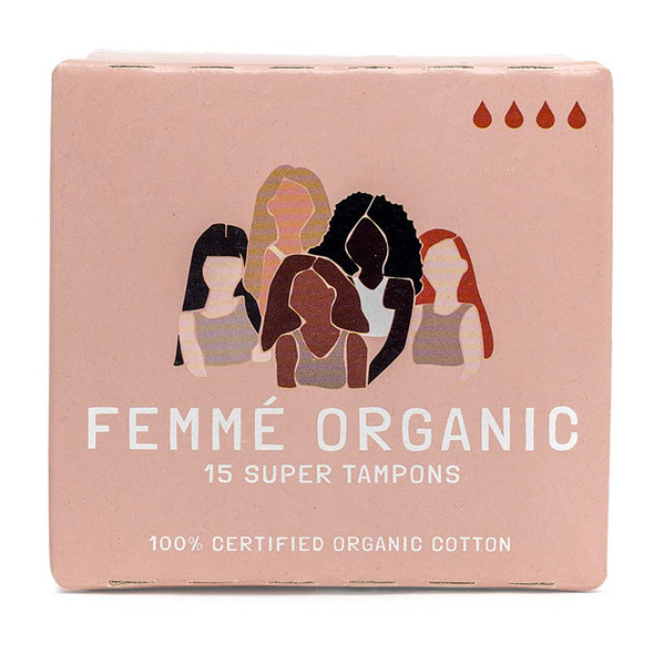 Femme Organic Cotton Tampons - Super 15-Pack  (Carton of 12)
