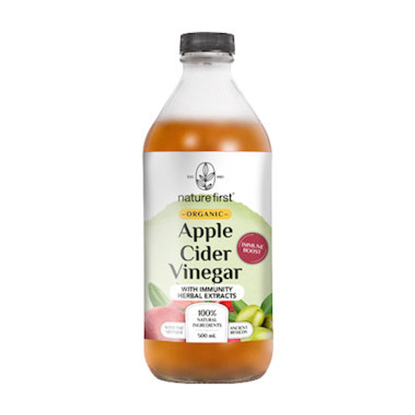 Nature First Apple Cider Vinegar With Immunity Herbal Extracts Organic 500ml (Carton of 6)