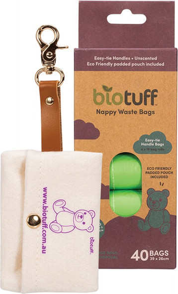 Biotuff Nappy Waste Bags & Dispenser 40-Bags