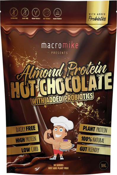 Macro Mike Protein Hot Chocolate - Almond With Added Probiotics 300g
