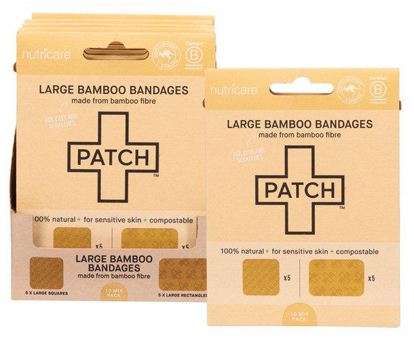 Patch Adhesive Large Bamboo Bandages Natural - Cuts & Scratches  (Carton of 5)