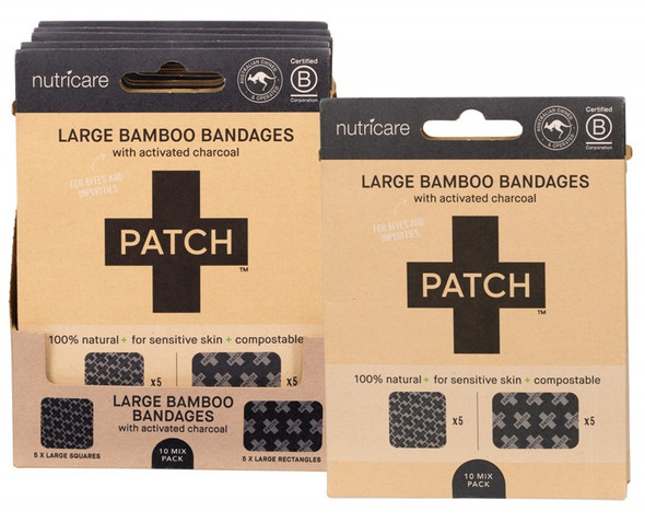 Patch Adhesive Large Bamboo Bandages Charcoal - Bites & Impurities  (Carton of 5)