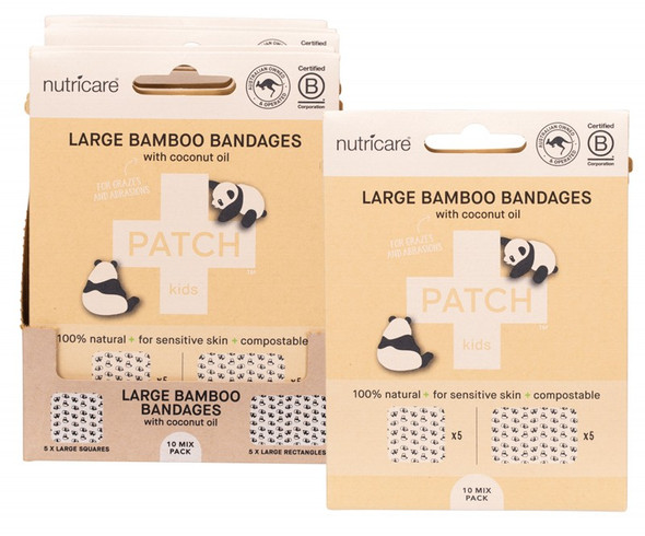Patch Adhesive Large Bamboo Bandages Coconut Oil - Abrasions & Grazes  (Carton of 5)