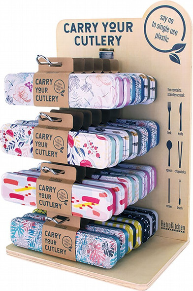 Retrokitchen Carry Your Cutlery - Display Stand Includes 24 Sets (Assorted Designs)