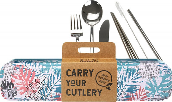 Retrokitchen Carry Your Cutlery - Palm Frond Stainless Steel Cutlery Set